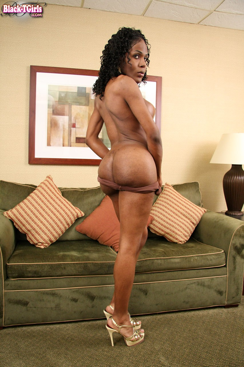 18 year old ebony babe nails her ass on a stiff cock - 1 7